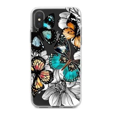 Lopard iPhone Xs Max Kılıf Silikon Arka Koruma Kapak Kelebek Çiçek Desenli Renkli